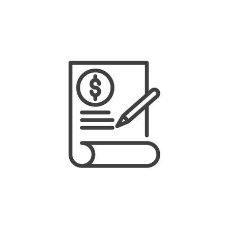 Financial contract line icon. linear style sign for mobile concept and web design. Invoice Document, check signature outline vector icon. Symbol, logo illustration. Vector graphics Ilustração