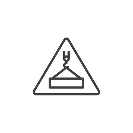 Overhead load warning sign line icon. linear style sign for mobile concept and web design. Under construction outline vector icon. Symbol, logo illustration. Vector graphics