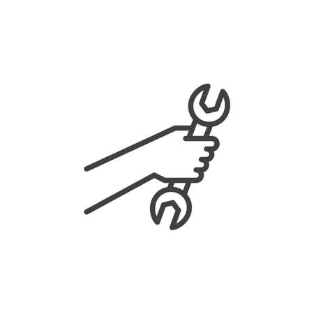 Hand with wrench line icon. linear style sign for mobile concept and web design. Hand holding spanner outline vector icon. Repair service symbol, logo illustration. Vector graphics