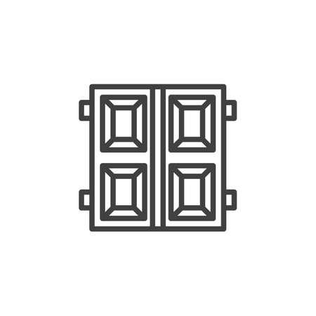 Garage doors line icon. linear style sign for mobile concept and web design. Double gate door outline vector icon. Symbol, logo illustration. Vector graphics Illusztráció