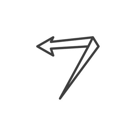 Left angle arrow line icon. Previous linear style sign for mobile concept and web design. Turn left, back outline vector icon. Symbol, logo illustration. Vector graphics