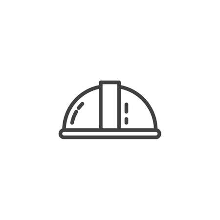 Construction Helmet line icon. linear style sign for mobile concept and web design. Safety helmet outline vector icon. Symbol, logo illustration. Vector graphics Stock Illustratie
