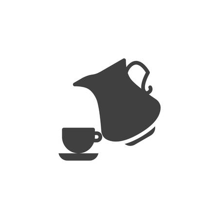 Milk jug and coffee cup vector icon. filled flat sign for mobile concept and web design. Tea cup and water pitcher glyph icon. Symbol, logo illustration. Vector graphics Ilustração