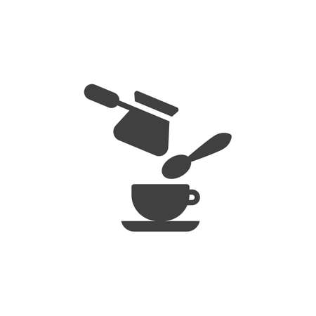 Coffee pouring into cup vector icon. filled flat sign for mobile concept and web design. Cezve, coffee cup and spoon glyph icon. Symbol, logo illustration. Vector graphics Ilustração
