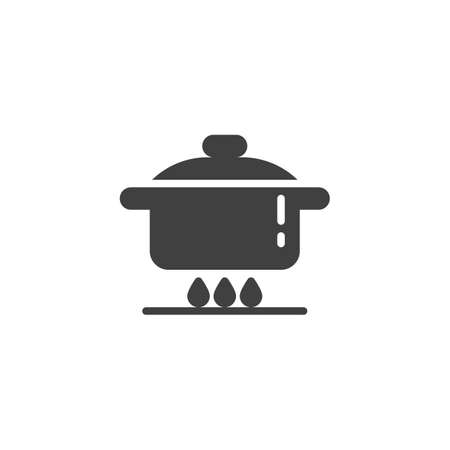 Cooking instruction vector icon. Food preparation filled flat sign for mobile concept and web design. Pan on gas stove glyph icon. Symbol, logo illustration. Vector graphics  イラスト・ベクター素材