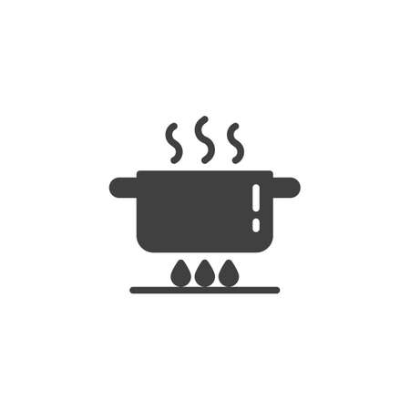 Pan on gas stove vector icon. Cooking instruction filled flat sign for mobile concept and web design. Boiling saucepan on fire glyph icon. Symbol, logo illustration. Vector graphics