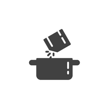 Sprinkling spices into pan vector icon. Food preparation filled flat sign for mobile concept and web design. Cooking instructions glyph icon. Symbol, logo illustration. Vector graphics Stock Illustratie