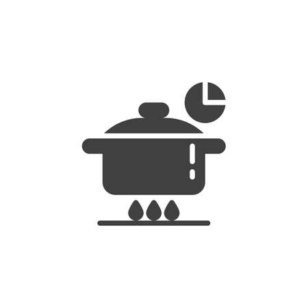 Cooking time instructions vector icon. Food preparation filled flat sign for mobile concept and web design. Pan on fire stove and clock glyph icon. Symbol, logo illustration. Vector graphics