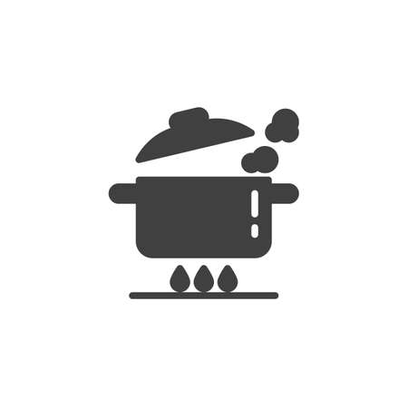 Boiling pan on gas stove vector icon. Saucepan on fire filled flat sign for mobile concept and web design. Cooking instructions glyph icon. Symbol, logo illustration. Vector graphics