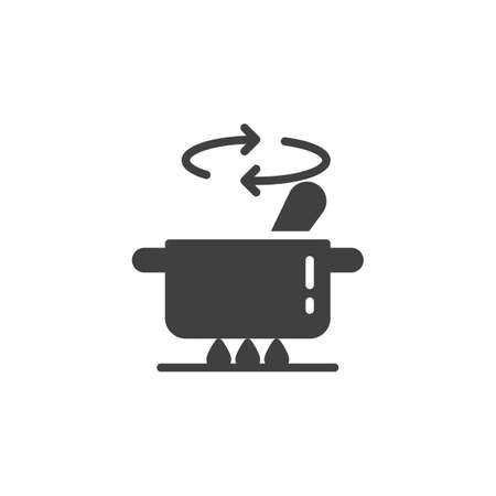 Cooking instructions vector icon. Saucepan on stove filled flat sign for mobile concept and web design. Stirring food in pan glyph icon. Symbol, logo illustration. Vector graphics