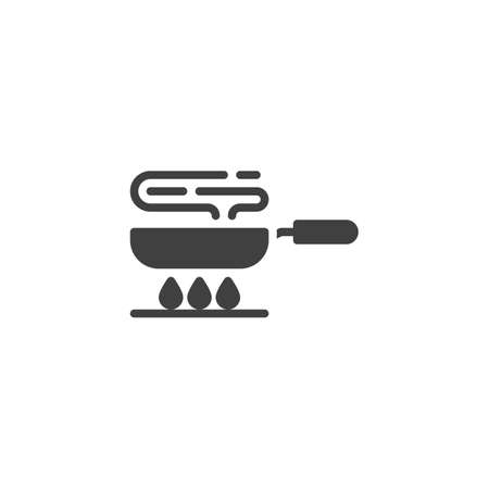 Frying pan on gas stove vector icon. Cooking process filled flat sign for mobile concept and web design. Frying on fire glyph icon. Symbol, logo illustration. Vector graphics