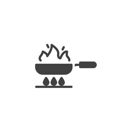Frying on fire vector icon. Frying pan on gas stove filled flat sign for mobile concept and web design. Cooking process glyph icon. Symbol, logo illustration. Vector graphics