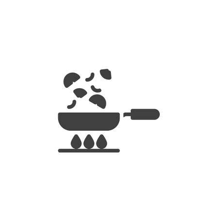 Frying vegetables on pan vector icon. Cooking process filled flat sign for mobile concept and web design. Frying pan on gas stove glyph icon. Symbol, logo illustration. Vector graphics  イラスト・ベクター素材