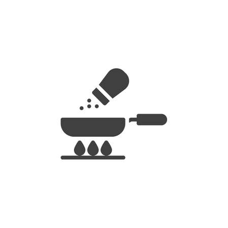 Frying pan and salt vector icon. Food preparation process filled flat sign for mobile concept and web design. Cooking on gas stove glyph icon. Symbol, logo illustration. Vector graphics  イラスト・ベクター素材