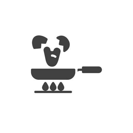 Frying eggs on a gas stove vector icon. filled flat sign for mobile concept and web design. Frying pan and egg shell glyph icon. Symbol, logo illustration. Vector graphics  イラスト・ベクター素材