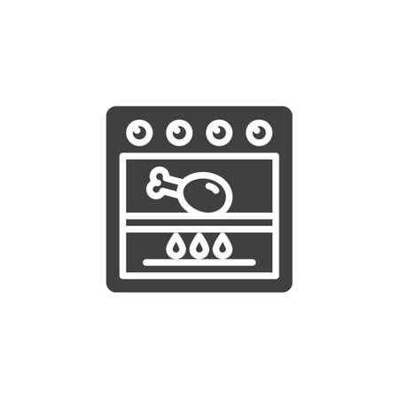 Frying chicken in grill stove vector icon. Cooking process filled flat sign for mobile concept and web design. Chicken leg in gas oven glyph icon. Symbol, logo illustration. Vector graphics