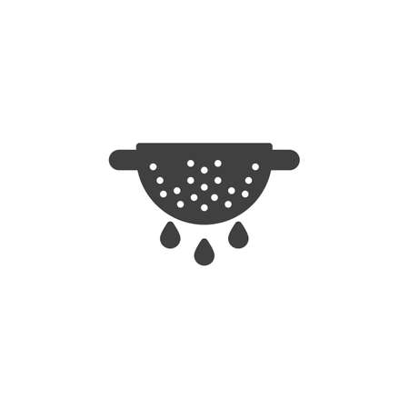 Colander vector icon. Cooking instructions filled flat sign for mobile concept and web design. Strainer glyph icon. Symbol, logo illustration. Vector graphics Çizim