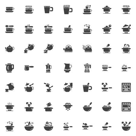 Cooking instructions vector icons set, modern solid symbol collection, filled style pictogram pack. Signs logo illustration. Set includes icons as food preparation process, frying and boiling, kitchen