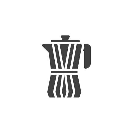Moka coffee maker vector icon. filled flat sign for mobile concept and web design. Moka pot, Kettle glyph icon. Symbol, logo illustration. Vector graphics