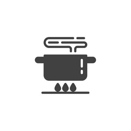 Boiling pot on gas stove vector icon. Food preparation filled flat sign for mobile concept and web design. Cooking instruction glyph icon. Symbol, logo illustration. Vector graphics