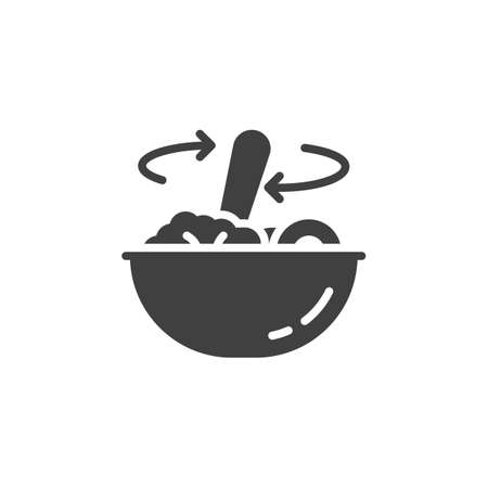 Stirring food in bowl vector icon. Food preparation filled flat sign for mobile concept and web design. Cooking instructions glyph icon. Symbol, logo illustration. Vector graphics Illustration