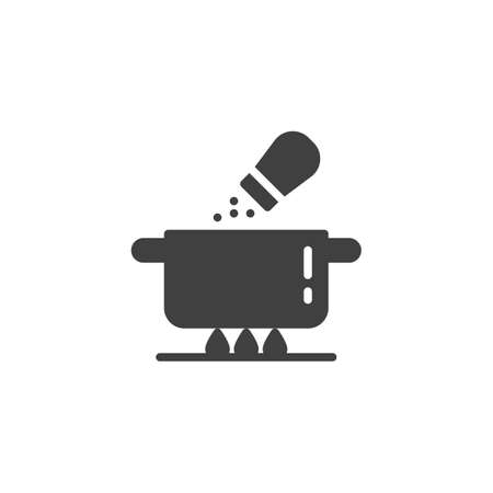 Salt soup pan vector icon. Saucepan on the fire and salt shaker filled flat sign for mobile concept and web design. Cooking instructions glyph icon. Symbol, logo illustration. Vector graphics
