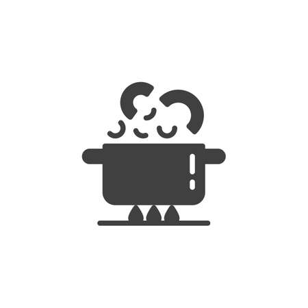 Boiling pan on fire vector icon. Cooking instructions filled flat sign for mobile concept and web design. Saucepan on gas stove glyph icon. Symbol, logo illustration. Vector graphics