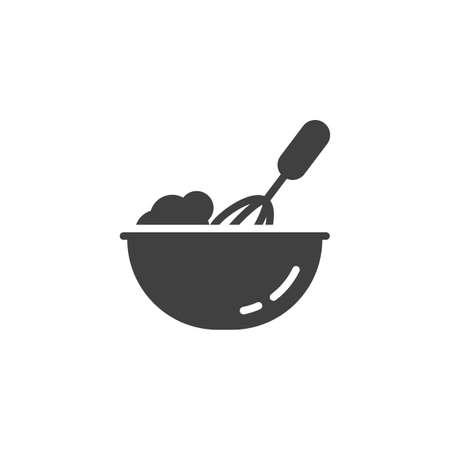 Icône de vecteur de processus de cuisson. Battre avec un mélangeur à main rempli de signe plat pour le concept mobile et la conception Web. Fouet mélangeant l'icône de glyphe de pâte. Symbole, illustration du logo. Graphiques vectoriels Logo