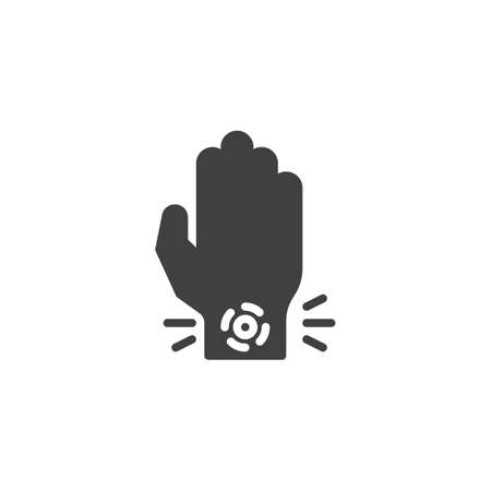 Wrist pain vector icon. filled flat sign for mobile concept and web design. Hand ache glyph icon. Symbol, logo illustration. Vector graphics Stock Illustratie