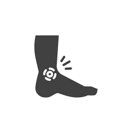 Ankle pain vector icon. filled flat sign for mobile concept and web design. Leg, foot pain glyph icon. Symbol, logo illustration. Vector graphics Stock Illustratie