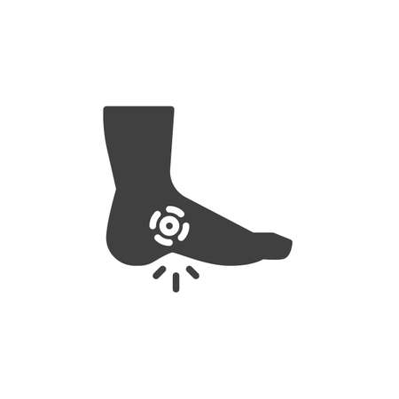 Foot ache vector icon. filled flat sign for mobile concept and web design. Heel pain glyph icon. Symbol, logo illustration. Vector graphics