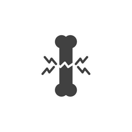 Bones ache vector icon. filled flat sign for mobile concept and web design. Broken Human bone pain glyph icon. Symbol, logo illustration. Vector graphics
