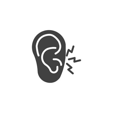 Ear pain vector icon. filled flat sign for mobile concept and web design. Earache glyph icon. Symbol, logo illustration. Vector graphics