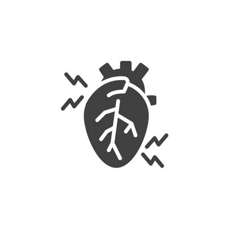 Heartache vector icon. filled flat sign for mobile concept and web design. Human heart pain glyph icon. Symbol, logo illustration. Vector graphics