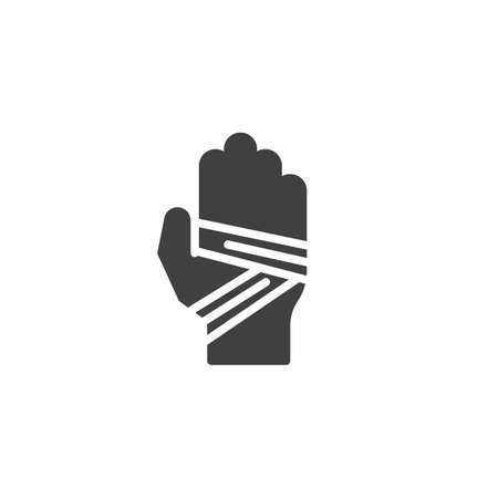 Bandaged hand vector icon. filled flat sign for mobile concept and web design. Hand tied bandage glyph icon. Symbol, logo illustration. Vector graphics