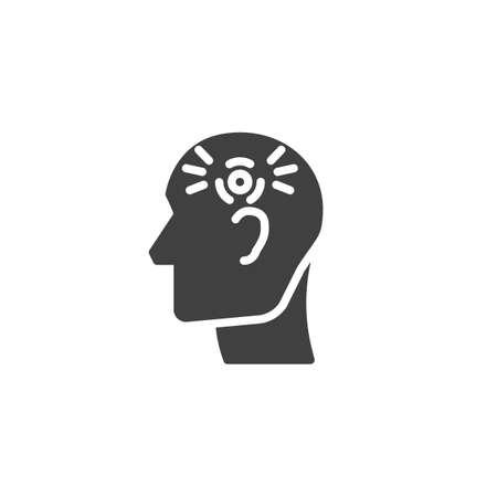 Head ache vector icon. filled flat sign for mobile concept and web design. Human headache glyph icon. Symbol, logo illustration. Vector graphics