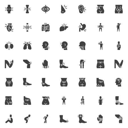 Ensemble d'icônes vectorielles de maux de corps, collection de symboles solides modernes, pack de pictogrammes de style rempli. Illustration du logo des signes. L'ensemble comprend des icônes telles que les blessures articulaires, les douleurs aux organes, les maux de tête, les symptômes de maladie, les douleurs oculaires