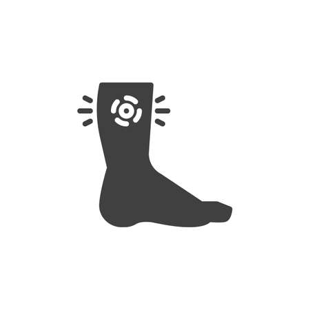 Human leg pain vector icon. filled flat sign for mobile concept and web design. Leg injury glyph icon. Symbol, logo illustration. Vector graphics