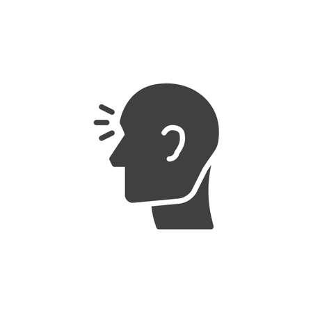 Head ache vector icon. filled flat sign for mobile concept and web design. Headache, pain glyph icon. Migraine symbol, logo illustration. Vector graphics Иллюстрация