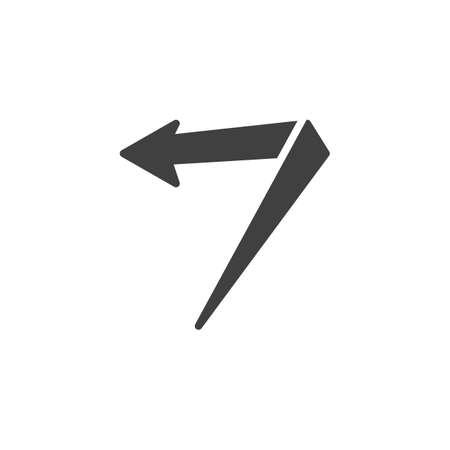 Left angle arrow vector icon. Previous filled flat sign for mobile concept and web design. Turn left glyph icon. Symbol, logo illustration. Vector graphics