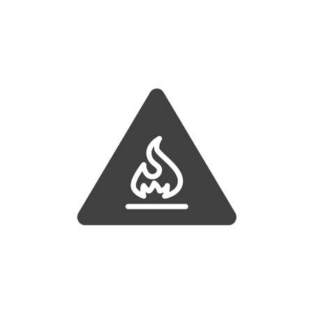 Flammable sign vector icon. filled flat sign for mobile concept and web design. Warning flammable glyph icon. Symbol, logo illustration. Vector graphics Ilustração