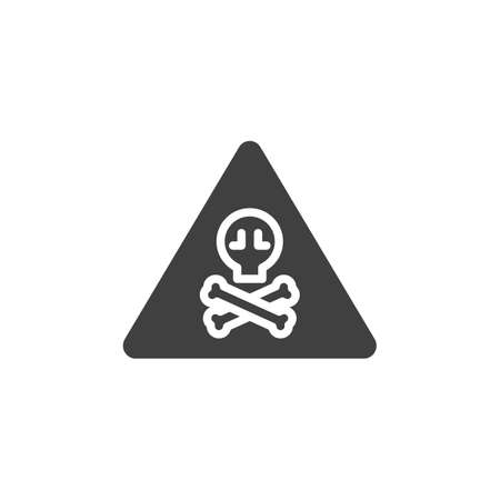 Warning toxic hazard sign vector icon. filled flat sign for mobile concept and web design. Alert signal triangle with skull glyph icon. Symbol, logo illustration. Vector graphics
