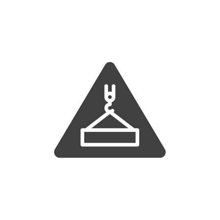 Overhead load warning sign vector icon. filled flat sign for mobile concept and web design. Under construction glyph icon. Symbol, logo illustration. Vector graphics Illusztráció