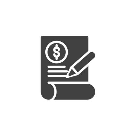 Financial contract vector icon. filled flat sign for mobile concept and web design. Invoice Document, check signature glyph icon. Symbol, logo illustration. Vector graphics