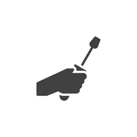 Hand with screwdriver vector icon. filled flat sign for mobile concept and web design. Hand holding screwdriver glyph icon. Technical service symbol, logo illustration. Vector graphics Stock Illustratie
