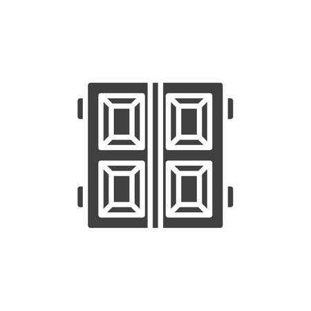 Garage doors vector icon. filled flat sign for mobile concept and web design. Double gate door glyph icon. Symbol, logo illustration. Vector graphics