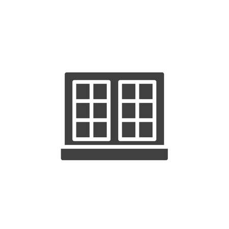 Double window and windowsill vector icon. filled flat sign for mobile concept and web design. Window frame glyph icon. Symbol, logo illustration. Vector graphics