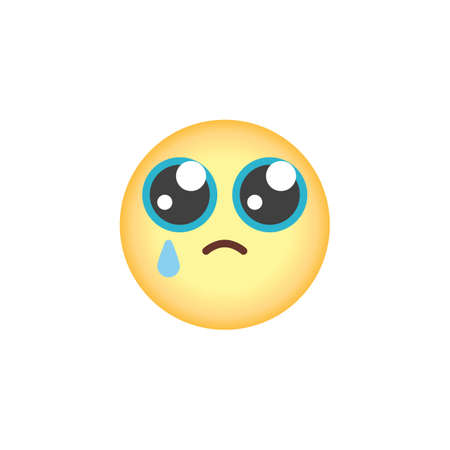 Crying face emoticon flat icon, vector sign, Sad but relieved face emoji colorful pictogram isolated on white. Symbol, logo illustration. Flat style design