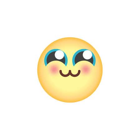 Icône plate émoticône timide, signe de vecteur, pictogramme coloré emoji visage timide isolé sur blanc. Symbole, illustration du logo. Conception de style plat