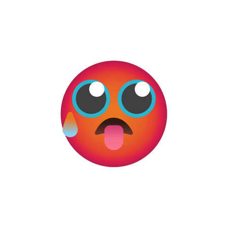 Anxious Face With Sweat emoticon flat icon, Tired face emoji vector sign, colorful pictogram isolated on white. Symbol, logo illustration. Flat style design
